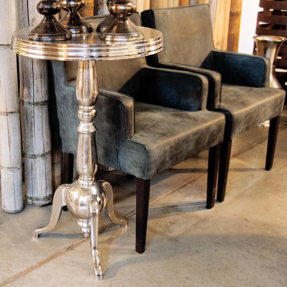 nic duysens beistelltisch rund nickel poliert silber ebay. Black Bedroom Furniture Sets. Home Design Ideas
