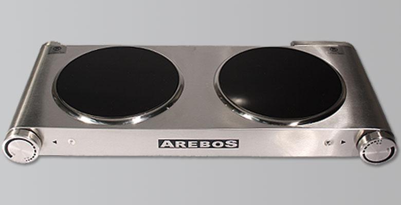 plaque de cuisson lectrique en acier inox avec deux feux en vitro c ramiques. Black Bedroom Furniture Sets. Home Design Ideas